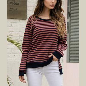 [Z AVENUE] Stripe Long Sleeve Sweatshirt